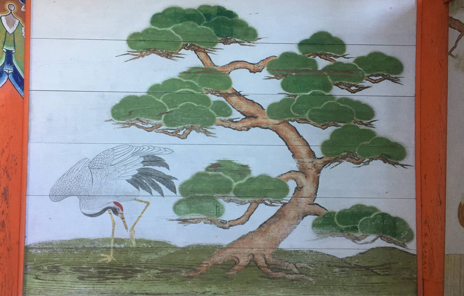 Red-crowned crane painting on shrine wall