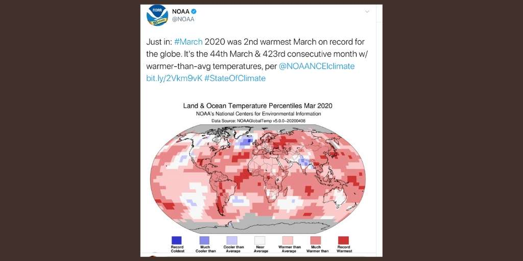 NOAA March temperatures